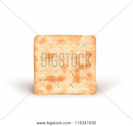 One Square Crackers With Salt On Isolated White Background