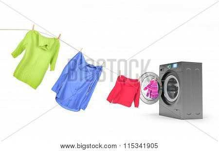 Clothes On A Rope With A Washing Machine