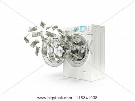 Money Laundering Concept, Dollar Bills Fly In The Washing Machine