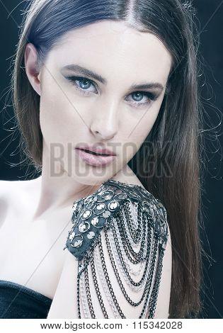 Fashion Beauty Girl Portrait With Make-up. Rocker Style.