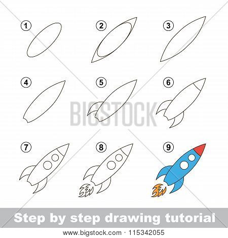 Drawing tutorial. How to draw a Toy Rocket