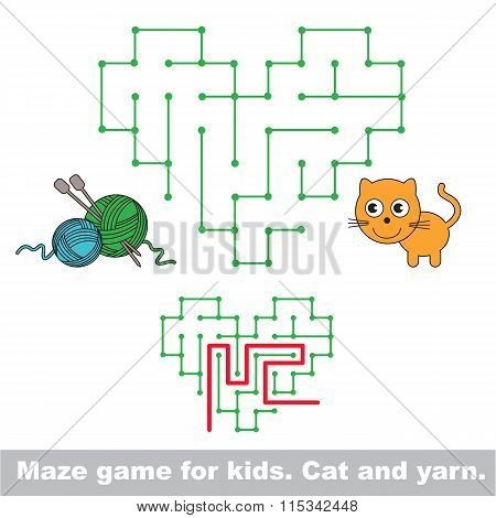 Kid maze game. Cat want to play with yarn.