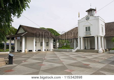 Exterior of the white colonial building in Kuching, Malaysia.