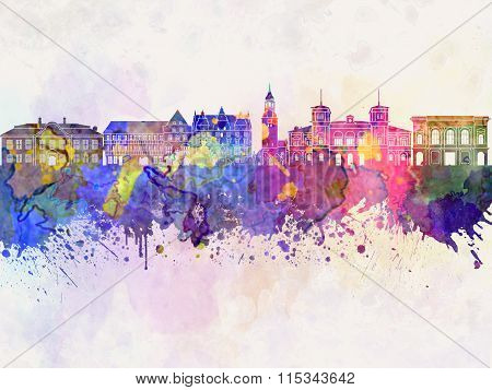 Aalborg Skyline In Watercolor Background