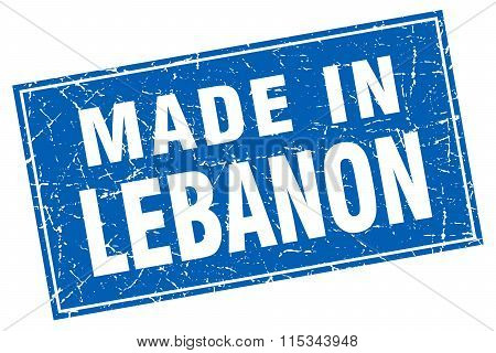 Lebanon blue square grunge made in stamp