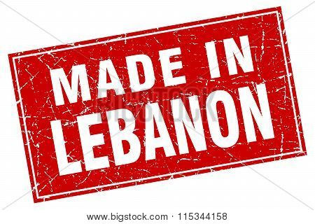 Lebanon red square grunge made in stamp
