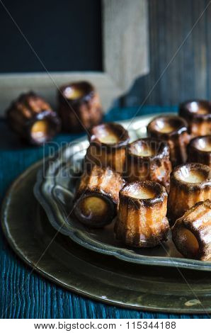 Cake canneles. french dessert.