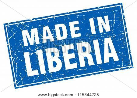 Liberia blue square grunge made in stamp