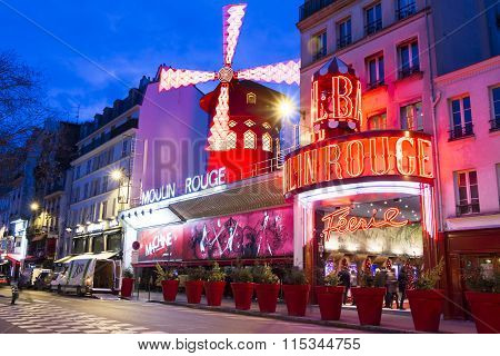 The Cabaret Moulin Rouge In Evening, Paris, France.