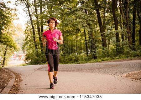 Senior woman jogging