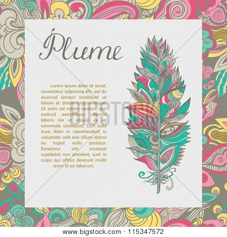 Vector Postcard With Plume And Text Sample.