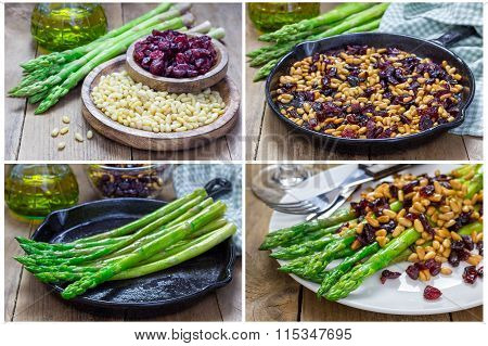 Asparagus Appetizer With Pine Nuts And Cranberries, Collage