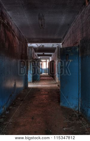 Corridor in the abandoned factory