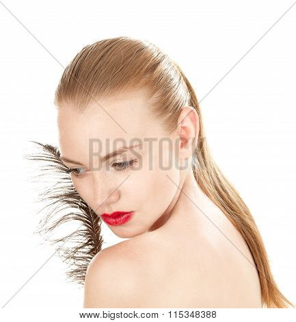 Young Beauty  Girl With Well-groomed Complexion, Isolated  On A White Background.