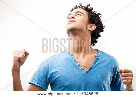 Joyful Strong Man Exulting Because He Won