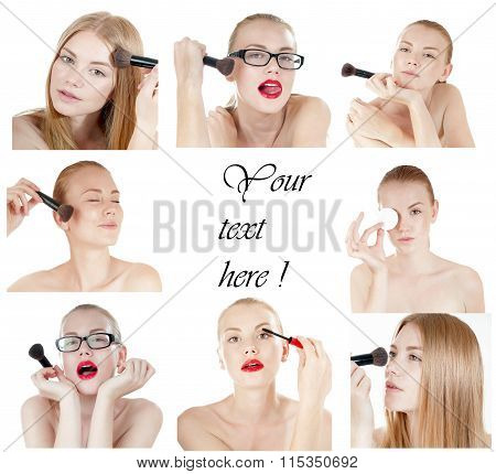 Collage Of Young Beautiful Girl  With Perfect Skin On White Background. Concept Of Beauty Industry.