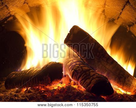 Fire In Fireplace.