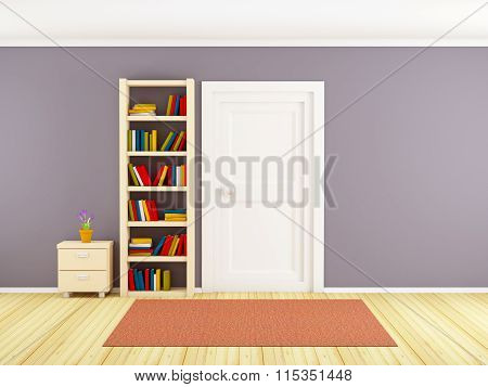 Wall With Bookcase And Door