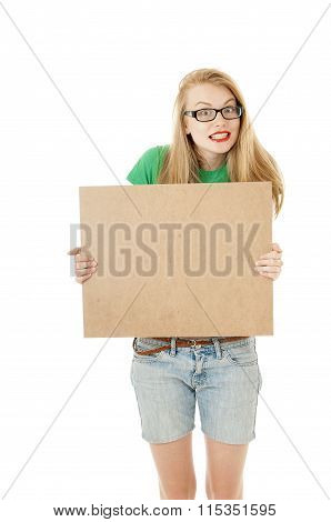 Happy Young Girl Holding Empty Wooden Notice Board