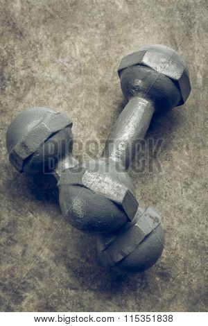 Fitness Sport Of Bodybuilding Background, Metal Dumbbell On Cement Floor