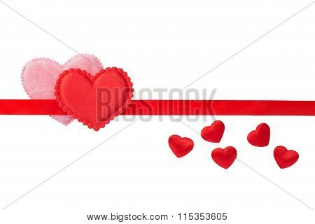 Red And Pink Fluffy Hearts On Red Strip
