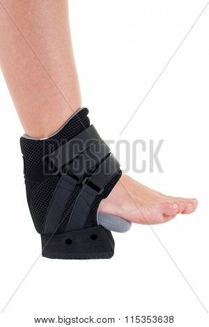 Person With Foot Wrapped In Modern Cast