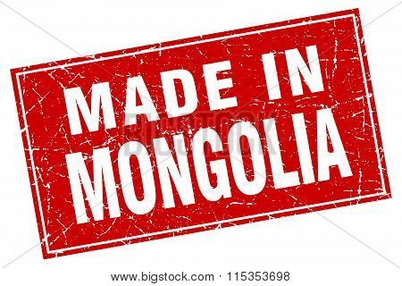 Mongolia red square grunge made in stamp