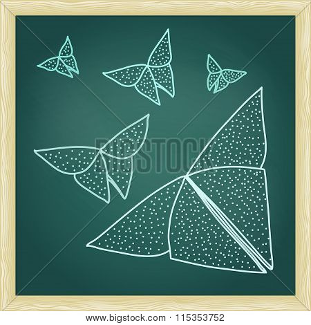 Chalkboard With Drawing Of Origami Butterflies In Hairline Outli