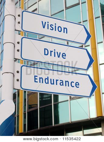 vision, drive, endurance signs
