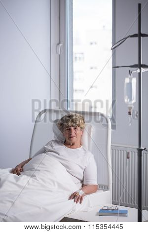 Elder Woman On A Drip