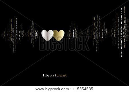 Fall in love heart beats cardiogram design.