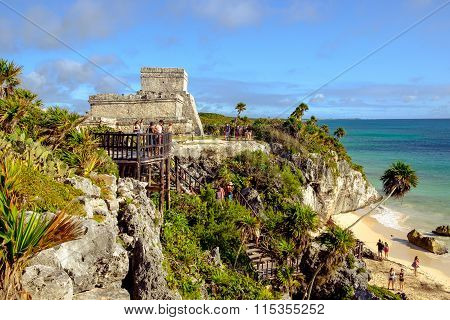 Tulum, Mexico - 4 January 2016: Archeological Site And Ruins At Tulum