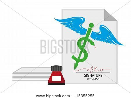 Medical Signature and document concept. Dollar sign on medicinal symbol pen. Editable  Clip Art.