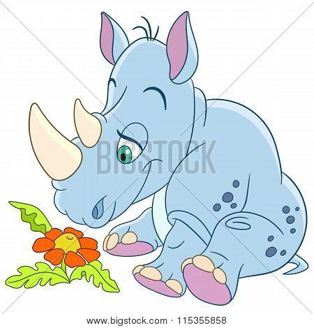 Cute Cartoon Rhino And Daisy Flower