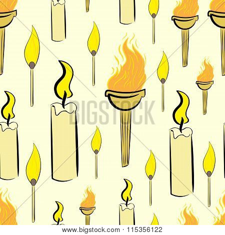 Seamless candles and torch