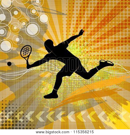 Illustration with tennis silhouette