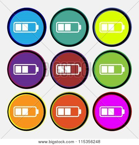 Battery Half Icon Sign. Nine Multi Colored Round Buttons.