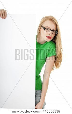 Pretty Young Girl Showing Blank Empty Billboard Poster Sign