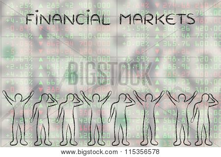 Happy And Sad Traders Facing Stocks Data, With Text Financial Markets