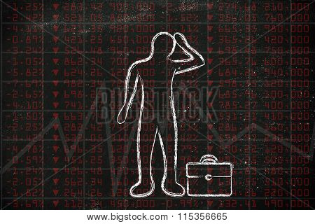 Sad Trader In Front Of Negative Stock Exchange Results And Loss