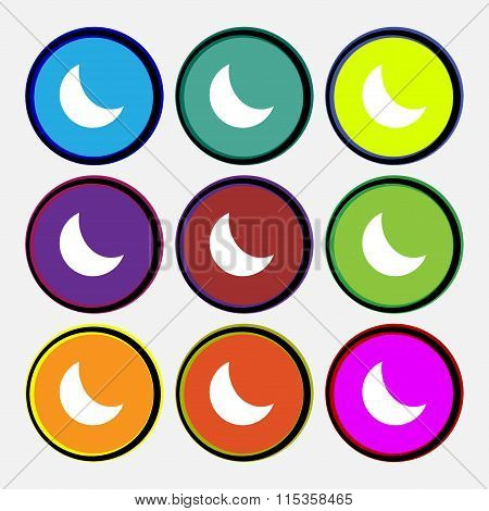 Moon Icon Sign. Nine Multi Colored Round Buttons.