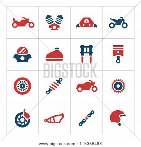 Set color icons of motorcycle