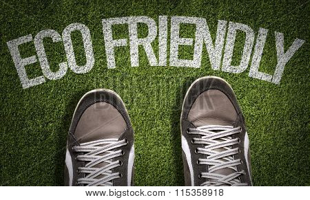 Top View of Sneakers on the grass with the text: Eco Friendly
