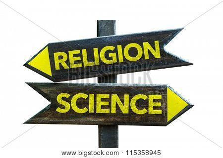 Religion - Science signpost isolated on white background