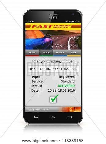 Smartphone with parcel order tracking application