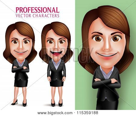 Professional Woman Character with Business Outfit Happy Smiling in Poses