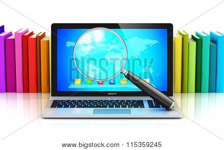 Laptop and magnifying glass in front of row of color books