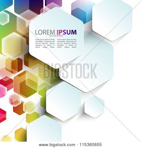 overlapping geometric hexagon shape elements multicolor design