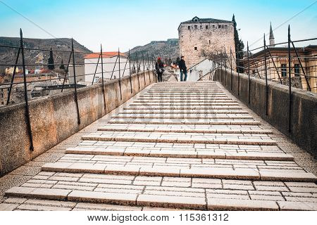 Mostar, Bosnia, January, 3, 2016: The streat of Mostar, Bosnia