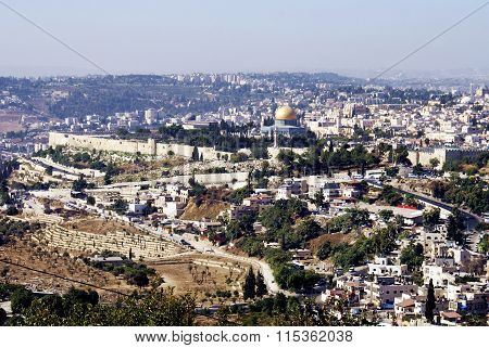 Landscape view of the holy city of Jerusalem